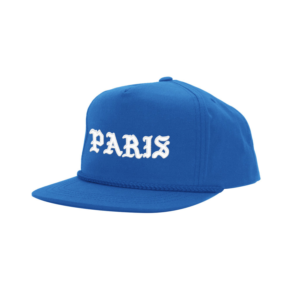 BLACKLETTER CLASSIC HAT (BLUE)   STYLE #  CH0301   WHOLESALE: €20  SUGGESTED RETAIL: €45