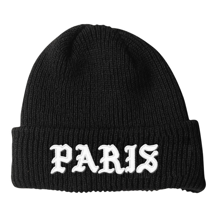 BLACKLETTER BEANIE (BLACK)   STYLE # B0101  WHOLESALE: €20  SUGGESTED RETAIL: €45