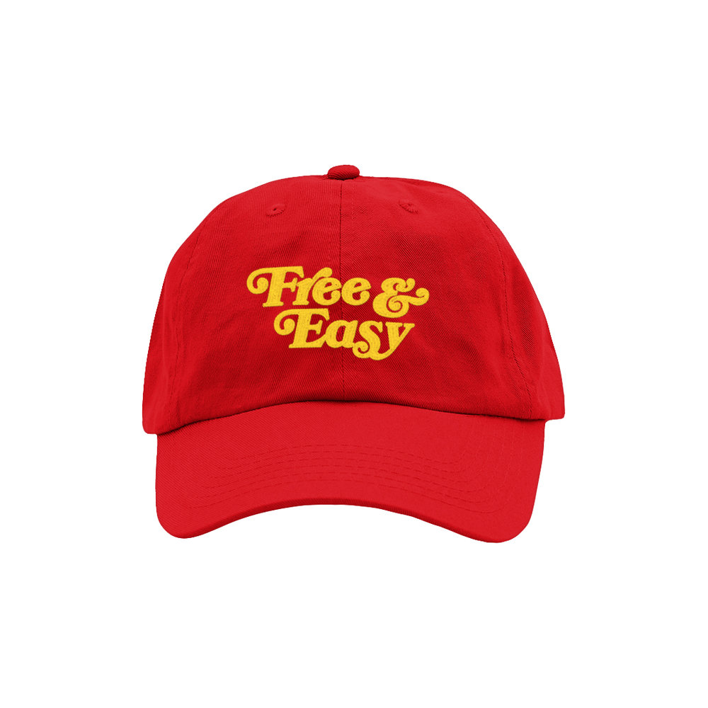 FREE & EASY DAD HAT (RED+YELLOW)   STYLE #  D  H0403   WHOLESALE: €20  SUGGESTED RETAIL: €45