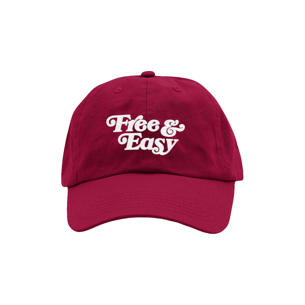 FREE & EASY DAD HAT (BURGUNDY)   STYLE #  D  H0407   WHOLESALE: €20  SUGGESTED RETAIL: €45
