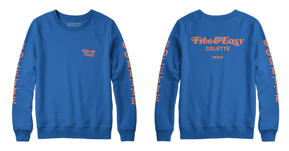 BLACKLETTER CREWNECK SWEATSHIRT (BLUE)   STYLE # CNS0201  WHOLESALE: €41  SUGGESTED RETAIL: €90