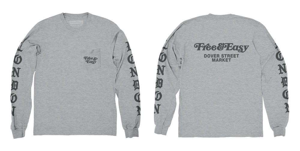 BLACKLETTER LS POCKET TEE (HEATHER GREY)
