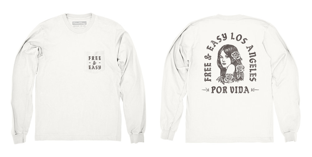 POR VIDA LS POCKET TEE (WHITE/BLACK)