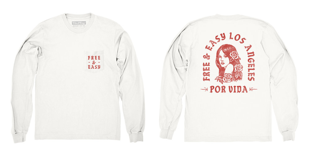 POR VIDA LS POCKET TEE (WHITE/RED)
