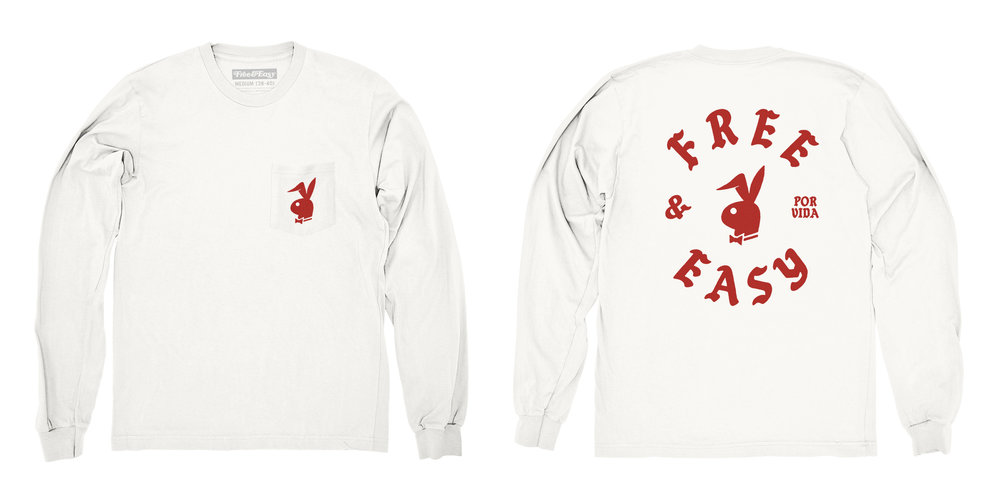 BUNNY LS POCKET TEE (WHITE/RED)