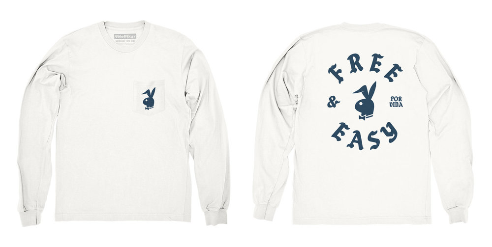 BUNNY LS POCKET TEE (WHITE/NAVY)