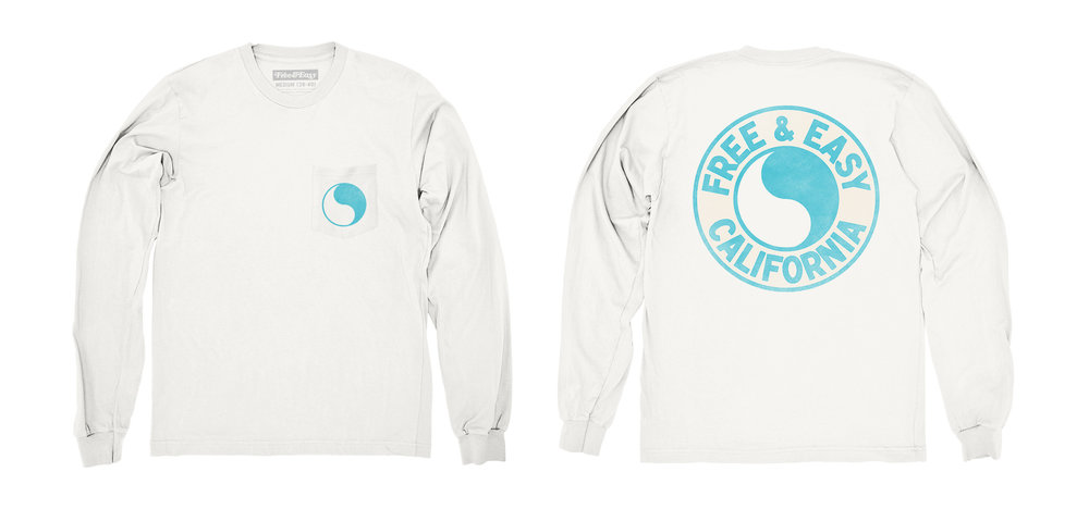 PACIFIC LS POCKET TEE [WHITE+ISLAND BLUE]