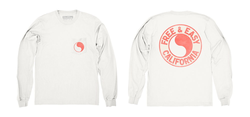 PACIFIC LS POCKET TEE [WHITE+CORAL]