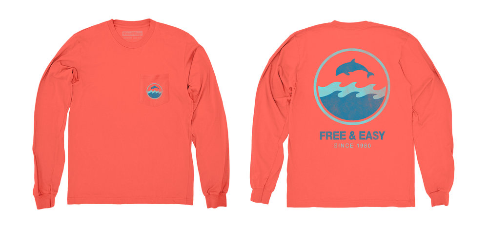 DOLPHIN WAVE LS POCKET TEE [CORAL]