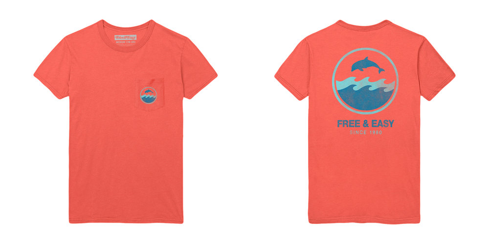 DOLPHIN WAVE SS POCKET TEE [CORAL]