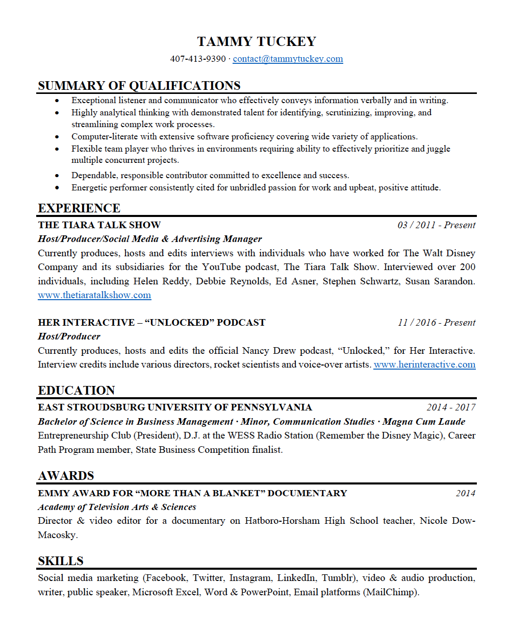 Tammy Tuckey - Resume - Page 1