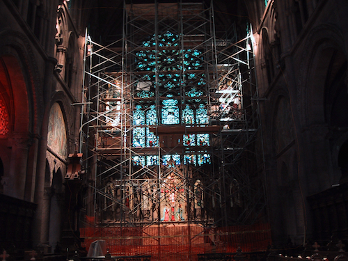 The Great East Window - scaffolded