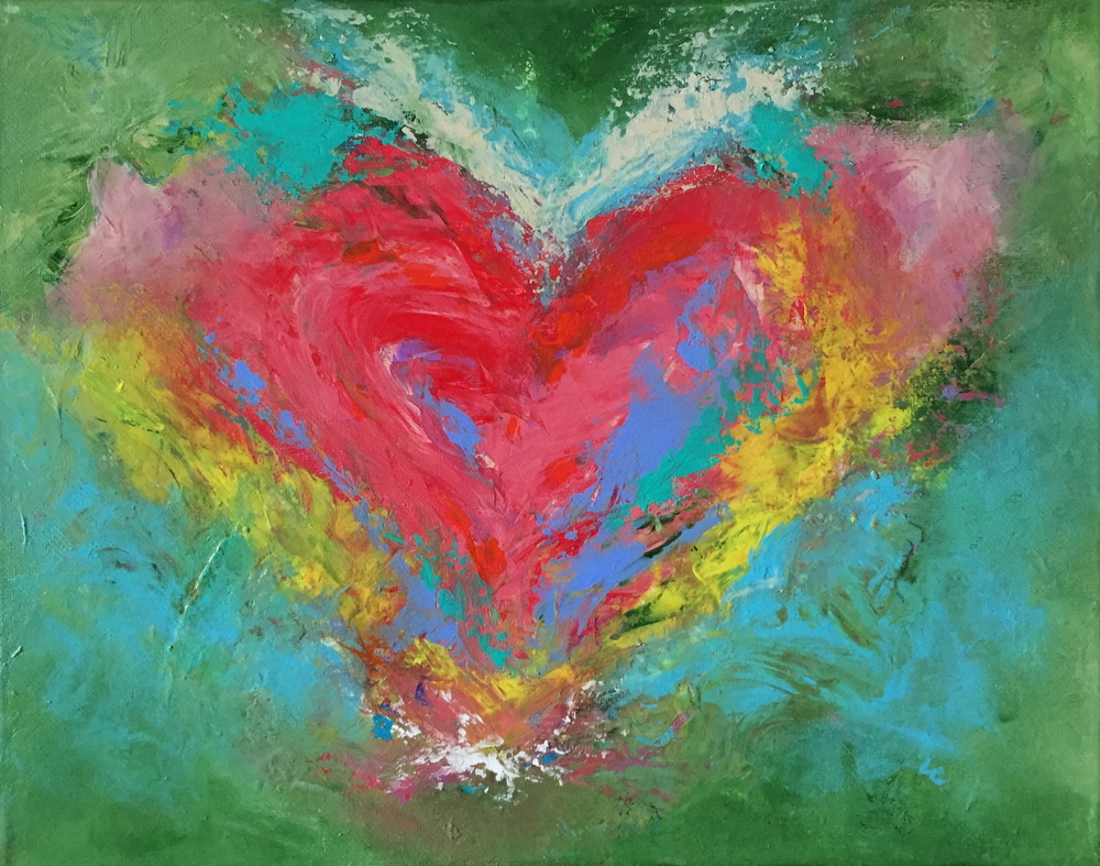 "Heart Shaped World 11"" x 14"" acrylic on canvas"