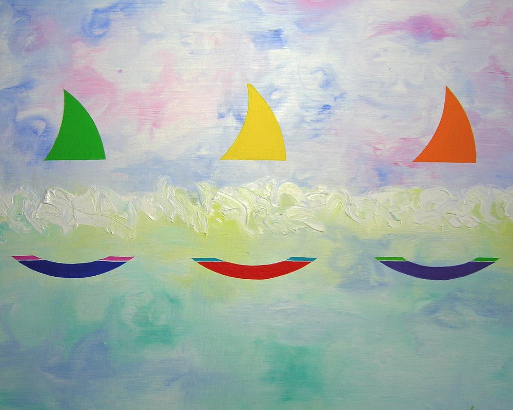 "Three Sailboats oil/canvas 16""x20"""