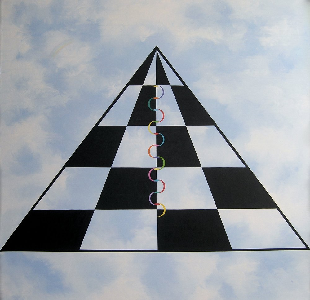 "The Serpent & the Pyramid oil/linen 70""x 70"""
