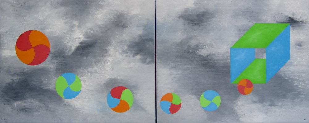 "To the Other Side oil/canvas 24""x 60""diptych"