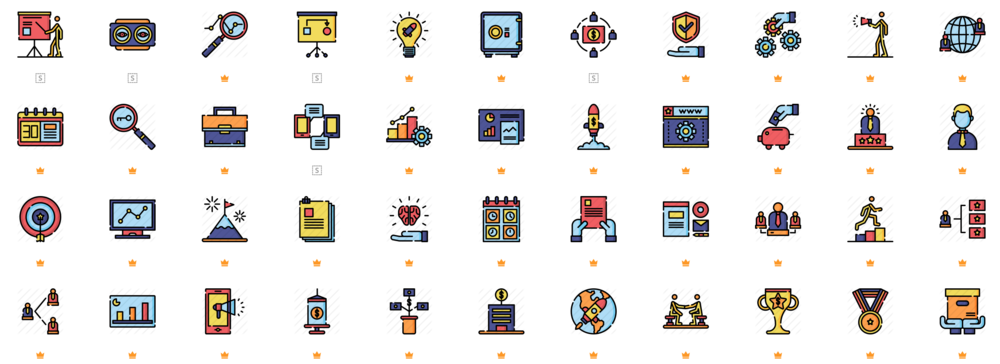 The detail and extent of icons available from flaticon