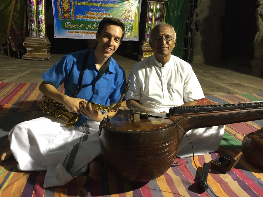 Max Bessesen with Dr. Karikudi Subramanian after a performance in Thirugokarnam Temple in Pudukkottai, India