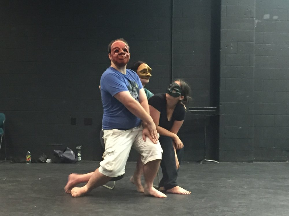 A little mask improvisation. From front to back: Chance Parker, Sloan Amburgey-Thomas, and Amber Albright.