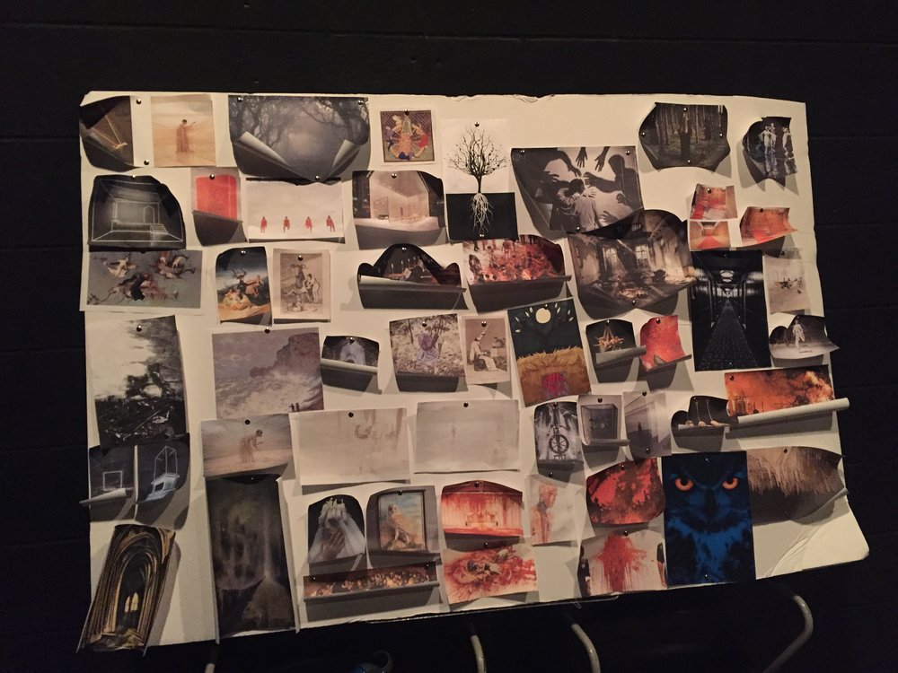 Our giant moodboard of photos and artwork that serves as thematic inspiration for certain characters or ideas.