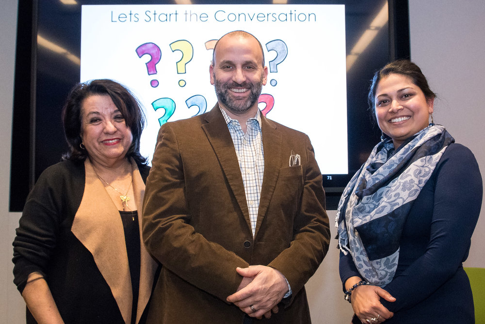 Dr. Teresa Córdova (left), Frank Adams (center), and Dr. Rita Raichoudhuri (right) at the Multiple Choice event.