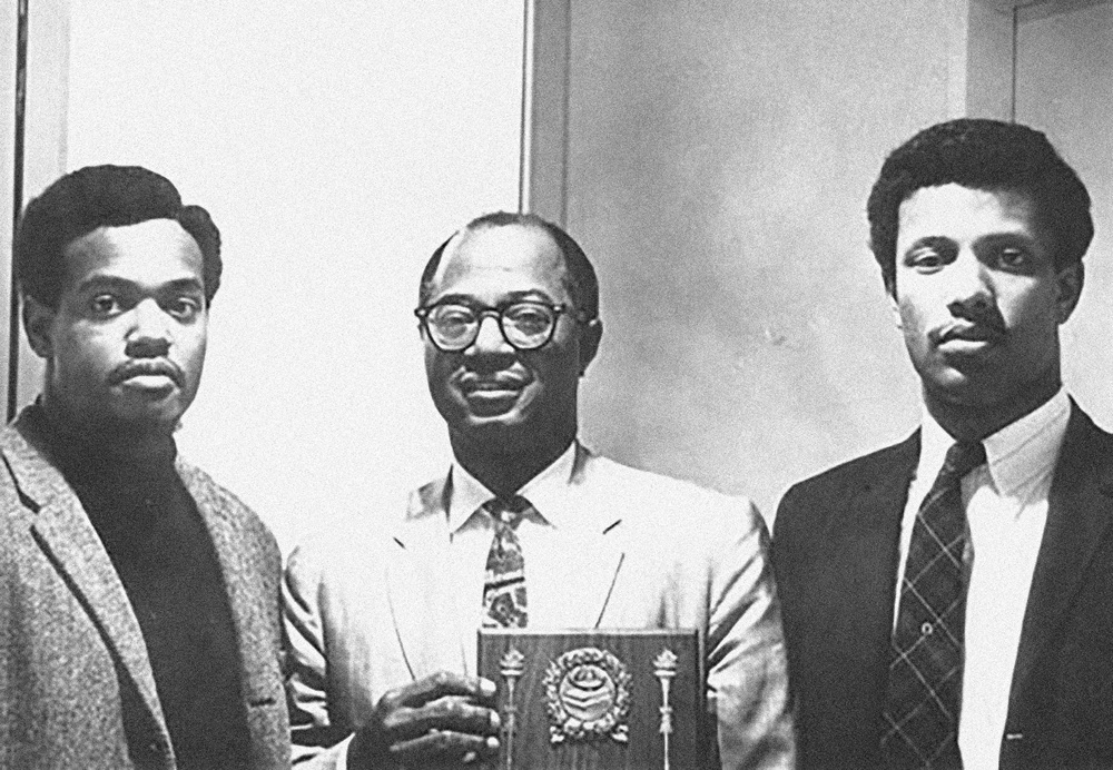 Paul C. Williams, Dr. Carl A. Fields, and A. Deane Buchanan at the first dinner banquet of Princeton's Association of Black Collegians (May 22, 1968)