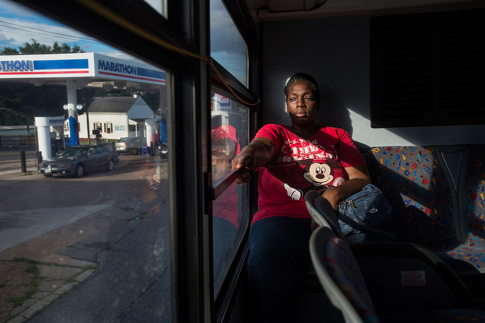 Ruby Johnson takes the bus to the Lynchburg Department of Social Services to ask for assistance after she was unable to afford the electric bill in July.