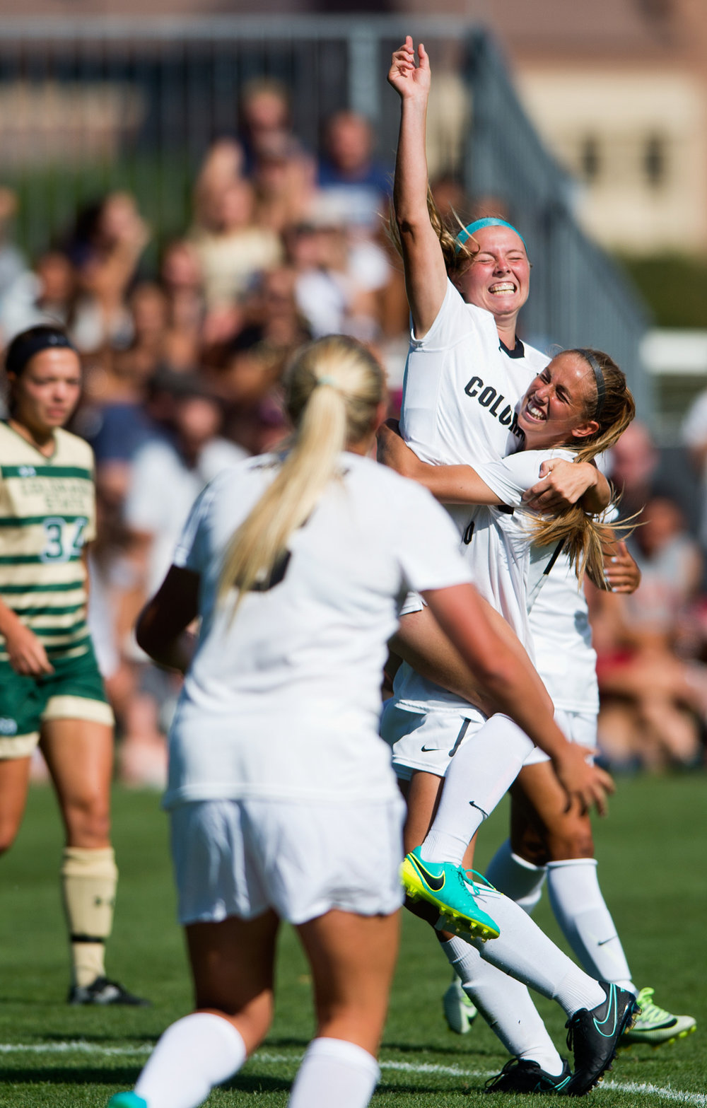 CU's Danica Evans celebrates after scoring the second goal for the Buffs during the soccer game at Prentup Field at CU Boulder in Boulder, Colo. CU Boulder defeated CSU 2-1.