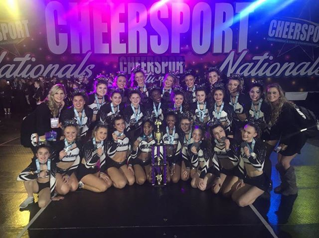 A Big Shout Out to our Sr 4 team Galaxy for not only Hitting Zero but for moving up from 7th to 3rd Place at Cheersport!! Great job ladies!!