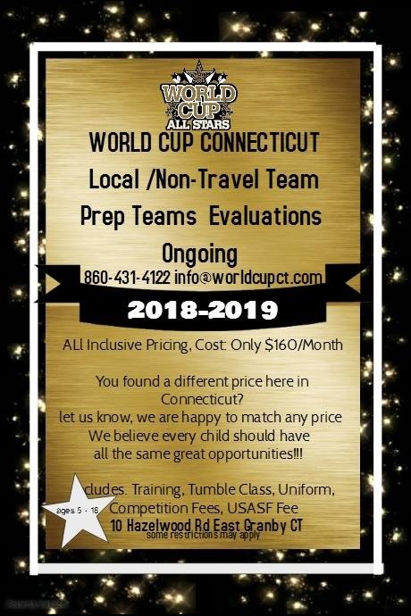 "Half Year Teams  Our half-year ""Saturn"" program begins December and goes through March. Half year teams have a more limited travel and practice schedule than our full year teams and offer a great option for those wanting a first taste of All Star Cheerleading or to continue cheering after conclusion of the Pop Warner or other Recreational cheer season.   Practices will be twice per week. Exact schedule available at registration.   Saturn is the perfect program for anyone who wants their first taste of the World Cup and All Star cheerleading experience, with less financial and time commitment than our full-year teams. It's perfect for Pop Warner, AYC and other youth league cheerleaders who want to continue cheering after their season is over.  Teams begin practicing in December and continue through March. The competition schedule is primarily local (no overnight competitions) and is less demanding than our full-year teams schedules."