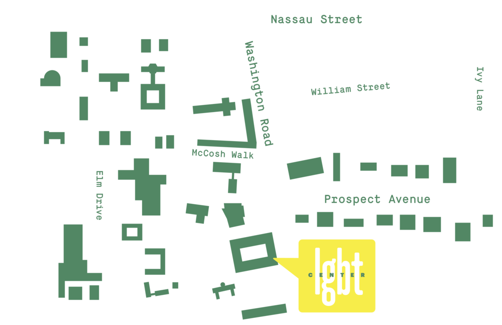 Map of Princeton campus showing location of LGBT Center