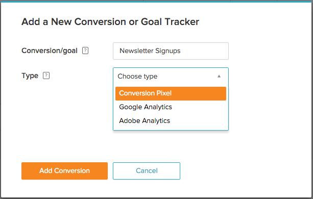 Setup a new Conversion or Goal Tracker directly in Zemanta One today!