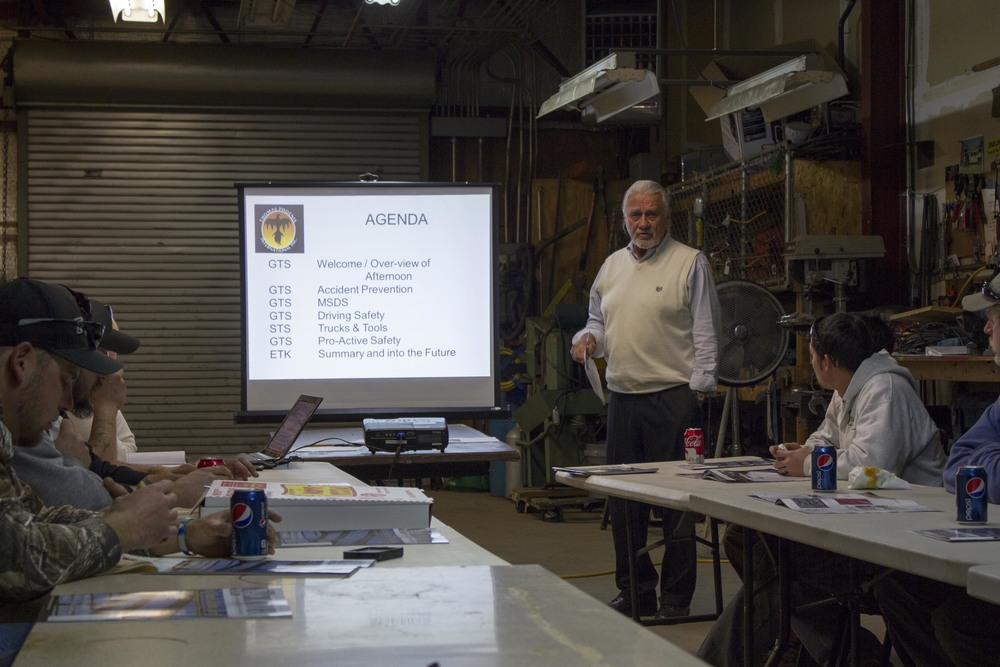 Gary T. Smith conducting an in-house safety meeting.
