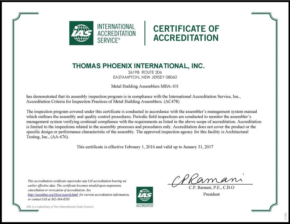 International Accreditation in IAS AC-478