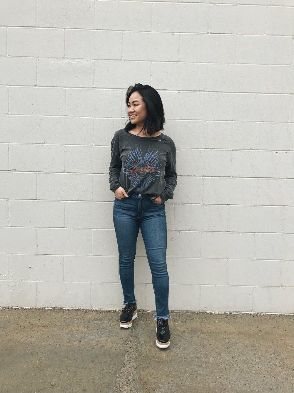 Journey Destroyed Tee   Off Duty Jeans   Showdown Platform Sneakers