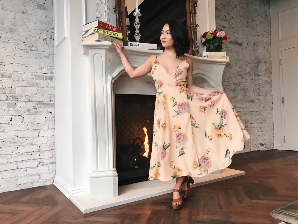 My Outfit: Adorn Me Floral Dress, Farris Clog Heel