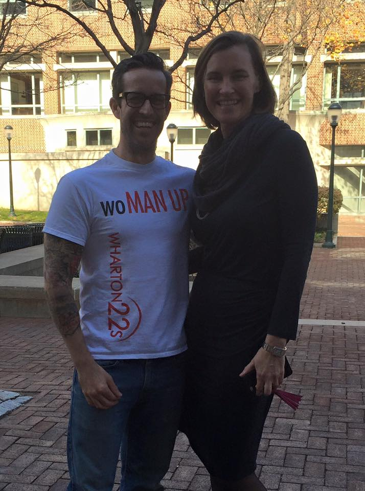 ‪#‎becauseofHer‬ support, drive, incredible accomplishments, because she is a mother of three with unparalleled success, because she has crushed the world, because she is Wharton, I stand up for gender equality.  -George Dutile WG'17 and Maryellen Lamb