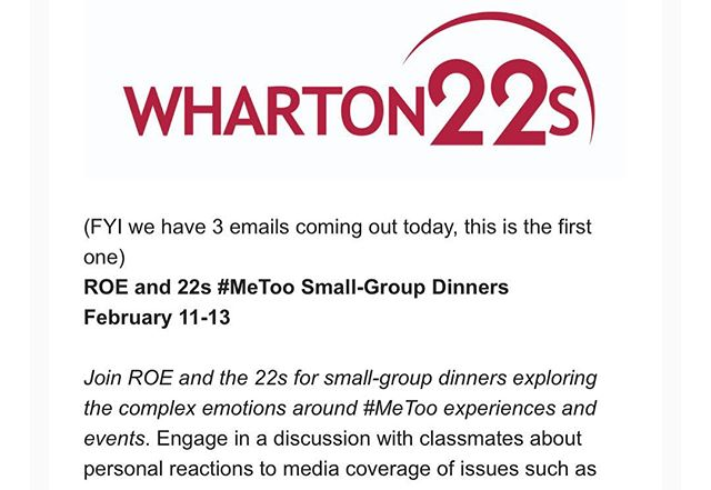 This week, the 22s and ROE are hosting small group dinners to encourage deeper discussions on the #metoo movement, focused on evaluating widely published cases (Weinstein / Kavanaugh) as well as recent sexual assault on college campuses. • Here's what the 22s learned! •    Listen to and strongly affirm women's experiences with sexual assault, first and foremost •    Men should be more proactive in moderating the behavior of their peers (and their own) •    Though hard at times, open communication on these issues is essential to shift norms, culture and stereotypes •    High profile controversies played out in the media influence how women process trauma and thus whether they choose to speak up / report _ We look forward to learning more from our other dinners this week!  #allyship #toolkit #energized #ourwharton #progress