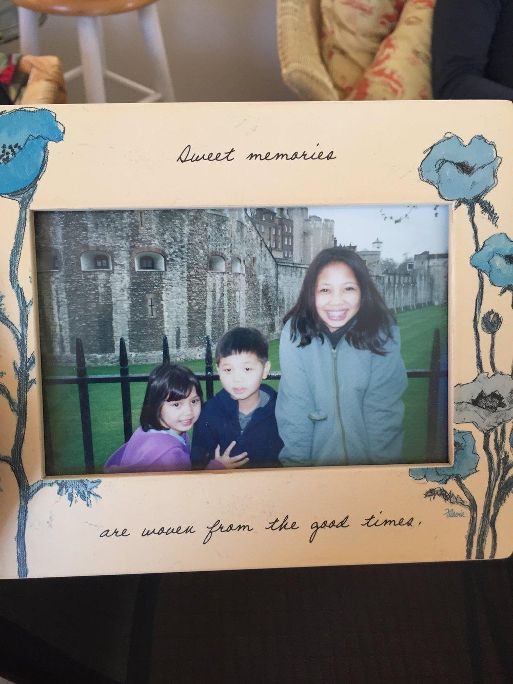 Awkward teenager me in Europe with my siblings