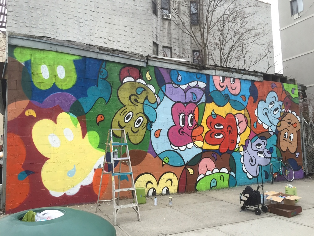 Work in progress shot -Buttsup throwing up a mural on Classon Ave and Greene Street in BK. Go check out the finished piece!