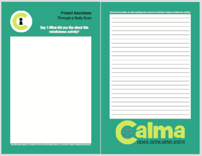 Calma's mindfulness journal