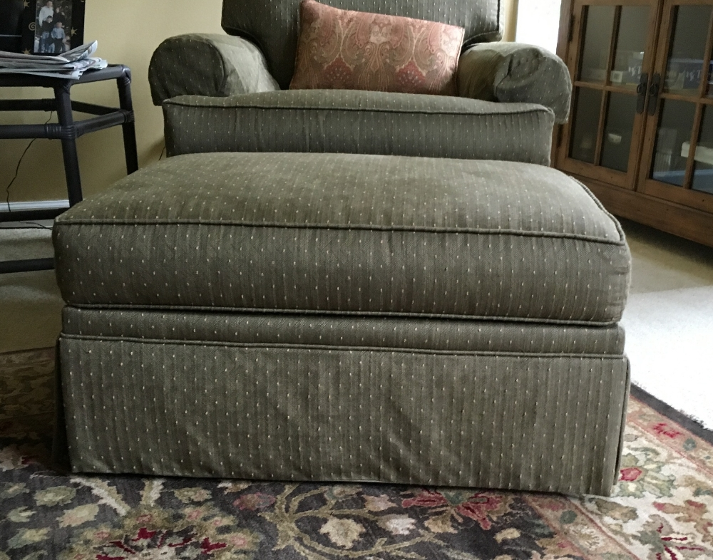 The only place I could find relief...the infamous ottoman.