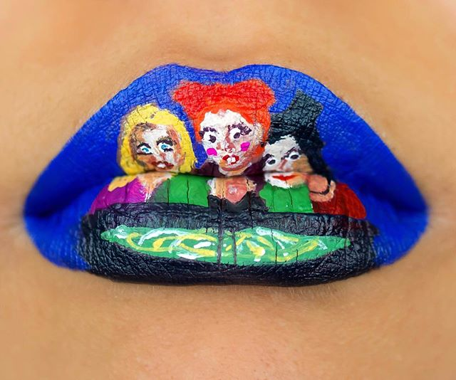 Lip art inspired by my favorite witches 🧙🏻‍♀️ #sandersonsisters #hocuspocus