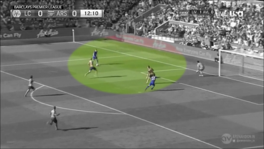 Vardy exploits this, Koscienly has to screen the pass due to Okazaki's position