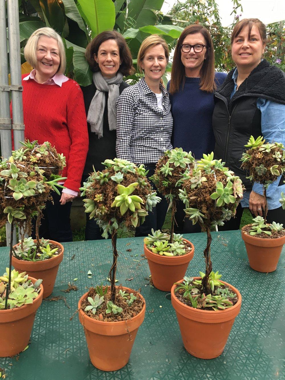 L to R: Carol Provan, Lisa Mortimer, Lynn Lehmann, Caroline Borrow, Robin McIntosh and their topiaries