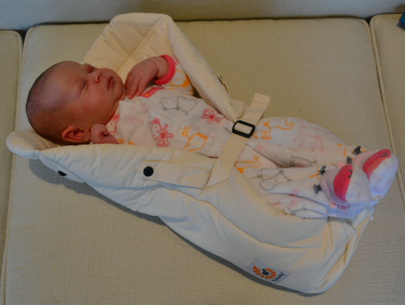 Newborn is placed into the insert prior to putting on the carrier