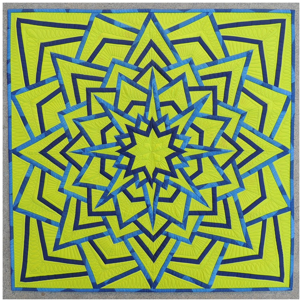 "4.  Lime Light, Star Bright  November 2016 31"" x 31"" Pieced Modern Mandala made using Michael Miller solids & prints.  Juried into Quilt Con 2017 and Pacific International Quilt Festival 2017.  Blog Post"