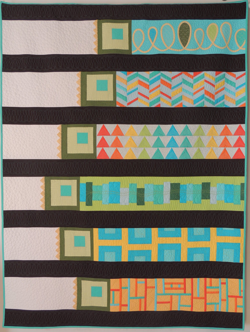 "9.  Fields of Quilted Dreams  August 2014 54"" x 71"" Original modern design to celebrate the production of solid cotton fabrics that are grown and manufactured here in the United States.  Selected as a Finalist and included in the traveling American Made Brand's Farm to Fabric Quilt Challenge exhibit.  Blog Post"