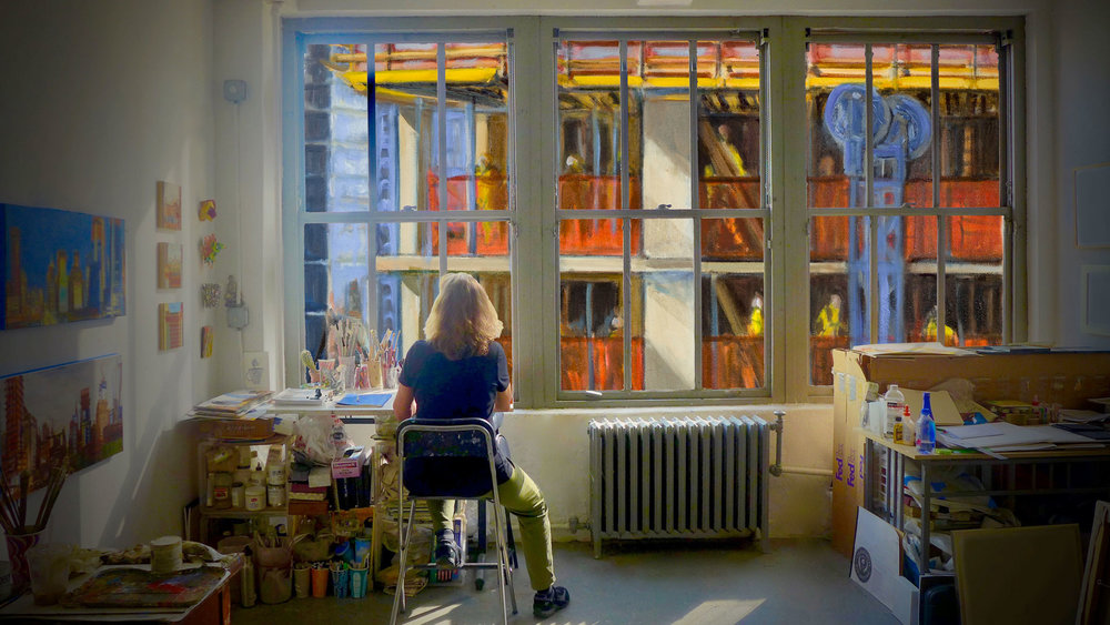 The Monolith - Pioneering NYC artist, Gwyneth Leech, enters a midtown art studio only to find that her skyline view will soon be blocked by the construction of a high-rise hotel. But as the perspective out her window permanently shifts, so does the artist's point of view. Directed by Angelo J. Guglielmo, Jr.