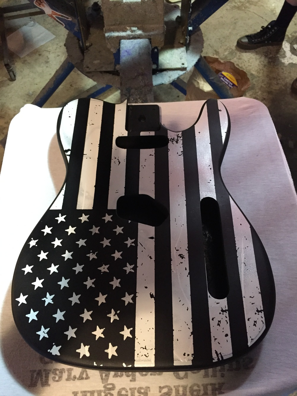 Screen print on wooden guitar body. Project I did with my friends at Matt  y Crist Guitar Works.